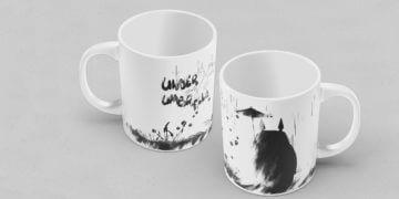 Mock up mug on table